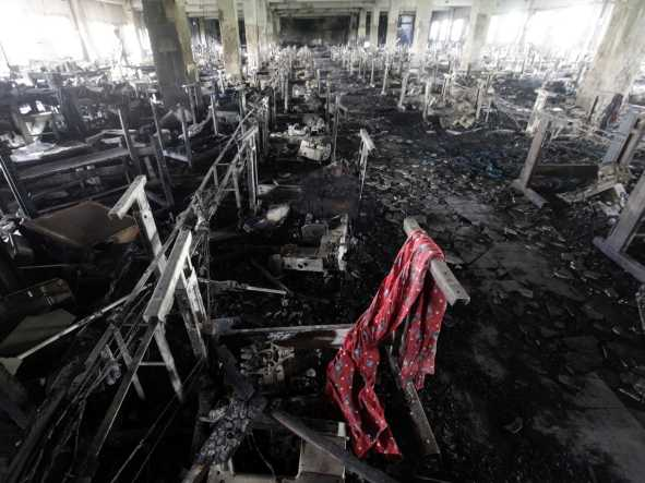 Cloth factory burn out