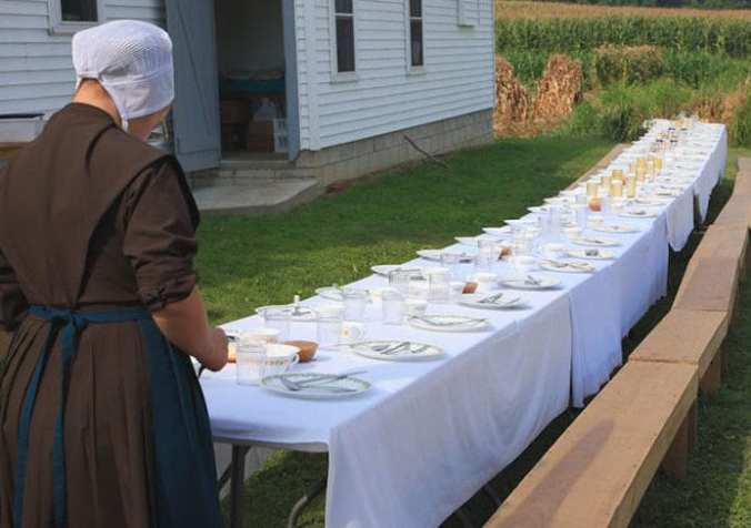 Amish eating together
